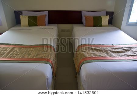 White Pillow on hotel bed, Thailand hotel