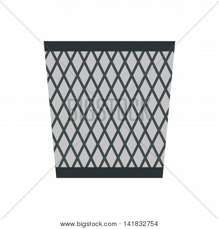 Wastepaper basket icon in flat style isolated on white background