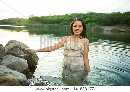 Girl Stand In Water