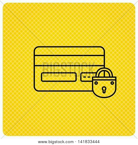 Blocked credit card icon. Shopping sign. Linear icon on orange background. Vector