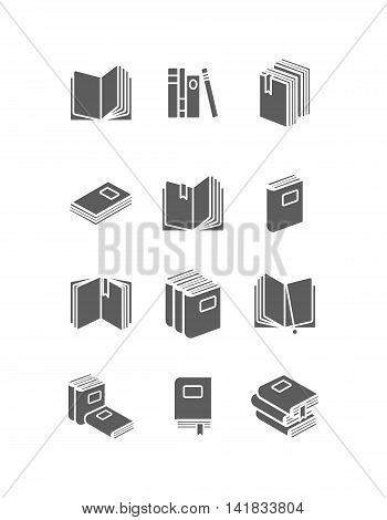 Books icon set for library design. Vector illustration