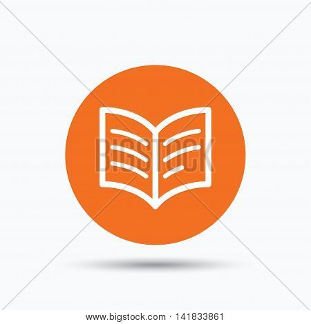 Book icon. Study literature sign. Education textbook symbol. Orange circle button with flat web icon. Vector