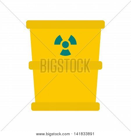 Trash barrel with radio activity sign icon in flat style isolated on white background