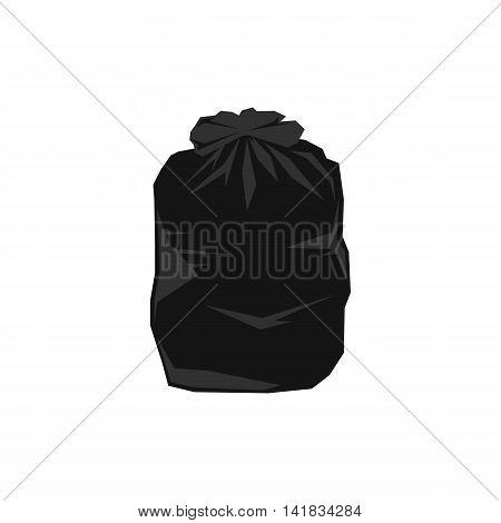 Black plastic bag icon in flat style isolated on white background. Waste and sanitation symbol