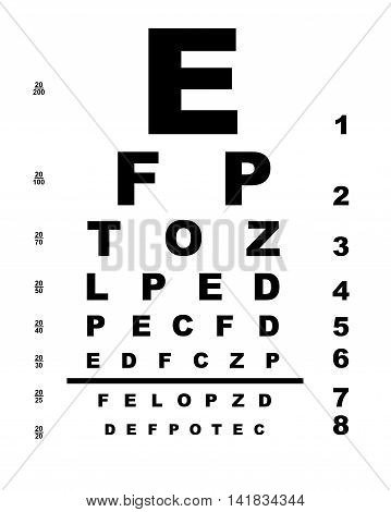 A typical opticians eye test chart over a white background