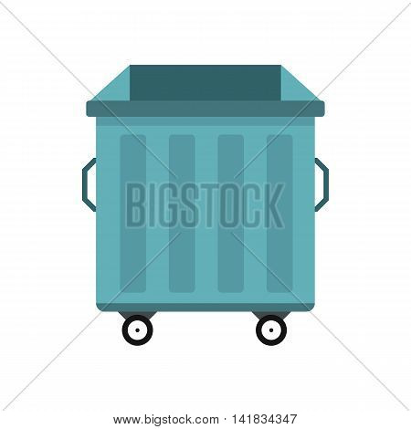 Dumpster on wheels icon in flat style isolated on white background. Waste and sanitation symbol