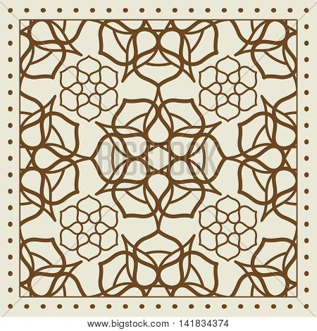 Beige scarf design with geometric pattern. Vector illutration