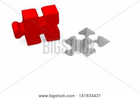 Red piece of puzzle on a white background 3d rendering