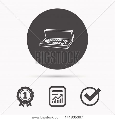 Jewelry box icon. Luxury precious sign. Report document, winner award and tick. Round circle button with icon. Vector