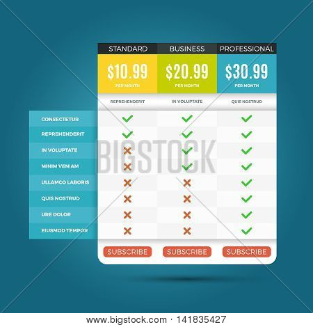 Vector pricing business plans for websites and applications. Banner with pricing for website, illustration of template internet pricing