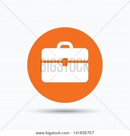 Briefcase icon. Diplomat handbag symbol. Business case sign. Orange circle button with flat web icon. Vector