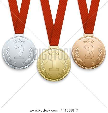 Gold silver and bronze medals vector. Set of medals for winners, illustration metal medals for sport event