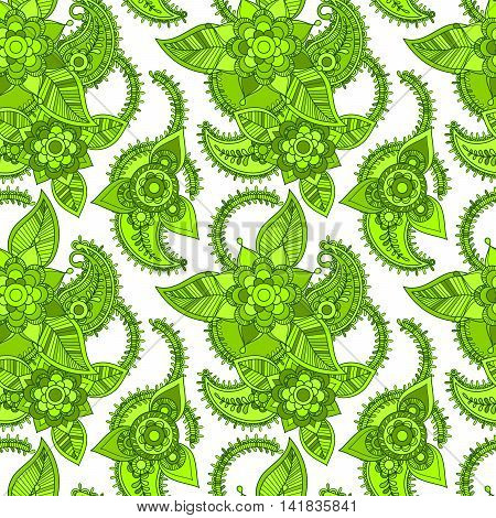 Green color line art style seamless pattern design. Vector illustration