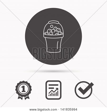 Bucket with foam icon. Soapy cleaning sign. Report document, winner award and tick. Round circle button with icon. Vector