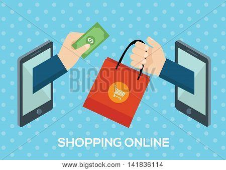 e-commerce concept shopping online minimal design vector