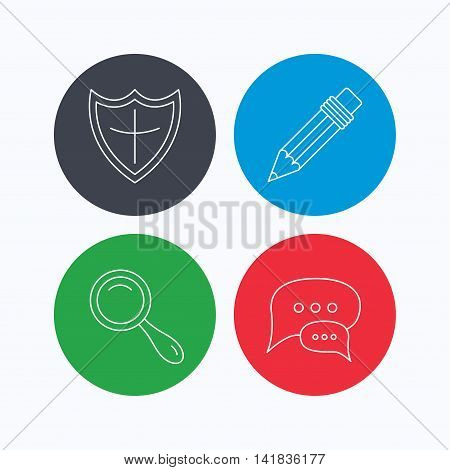 Chat speech bubbles, magnifier and pencil icons. Shield protection linear sign. Linear icons on colored buttons. Flat web symbols. Vector