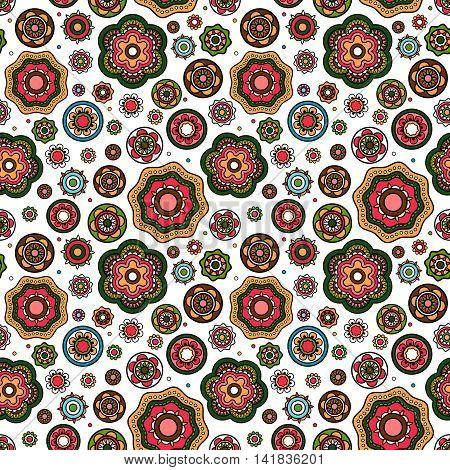 Mandala style flowers pattern with white background. Vector illustration