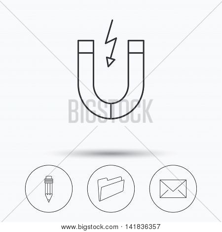 Folder, pencil and mail envelope icons. Magnet linear sign. Linear icons in circle buttons. Flat web symbols. Vector