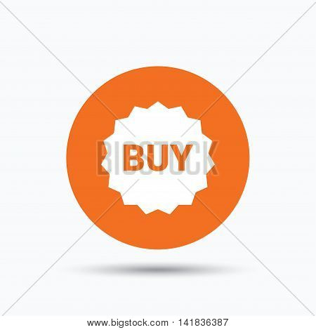 Buy icon. Online shopping star symbol. Orange circle button with flat web icon. Vector