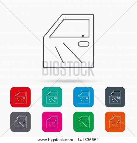 Car door icon. Automobile lock sign. Linear icons in squares on white background. Flat web symbols. Vector