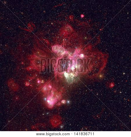 Star-forming region in the super star cluster in the Large Magellanic Cloud. Retouched colored image. Elements of this image furnished by NASA.