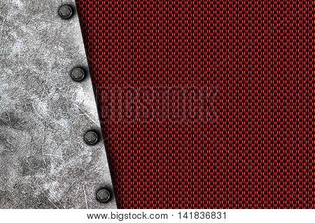 grunge metal background. rivet on white metal plate and red carbon fiber. material design 3d illustration.