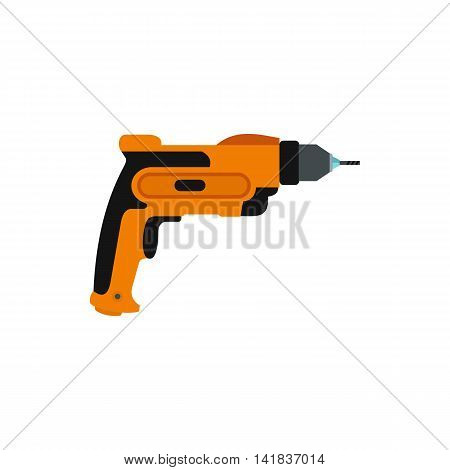 Drill icon in flat style isolated on white background. Tool symbol