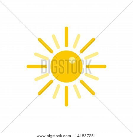 Sun icon in flat style isolated on white background. Heat symbol