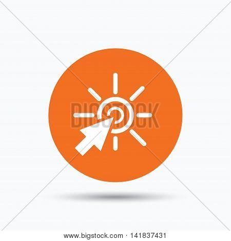 Click icon. Computer mouse cursor symbol. Orange circle button with flat web icon. Vector