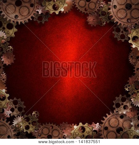copper and brass gears border on the red metallic wall. 3d illustration. material design. vintage style background.