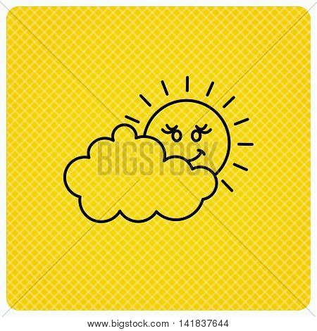 Cloudy day with sun icon. Overcast weather sign. Meteorology symbol. Linear icon on orange background. Vector