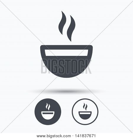Coffee cup icon. Hot tea drink symbol. Circle buttons with flat web icon on white background. Vector