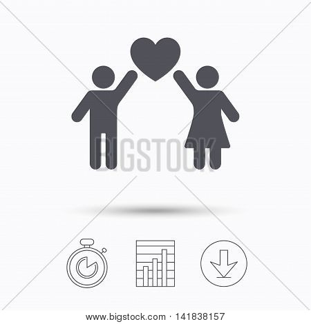 Couple love icon. Traditional young family symbol. Stopwatch, chart graph and download arrow. Linear icons on white background. Vector