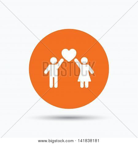 Couple love icon. Traditional young family symbol. Orange circle button with flat web icon. Vector