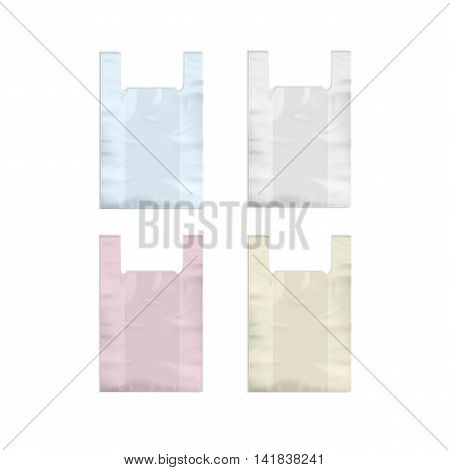 Vector Set of Colored White Pink Yellow Blue Empty Disposable Plastic Shopping Bags with Handles Close up Isolated on White Background
