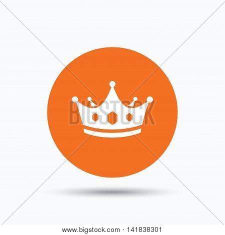 Crown icon. Royal throne leader symbol. Orange circle button with flat web icon. Vector