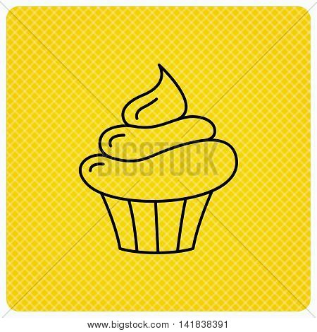 Cupcake icon. Dessert cake sign. Delicious bakery food symbol. Linear icon on orange background. Vector