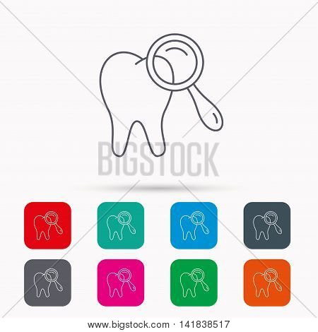 Dental diagnostic icon. Tooth hygiene sign. Linear icons in squares on white background. Flat web symbols. Vector