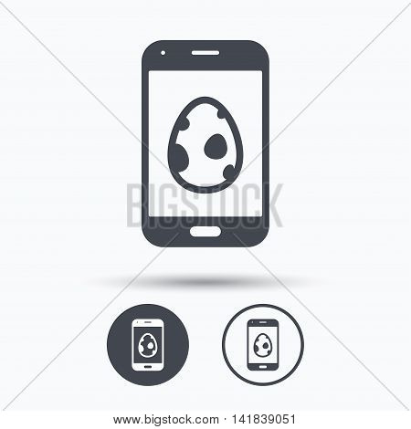Dinosaur egg icon. Smartphone device symbol. Pokemon egg concept. Circle buttons with flat web icon on white background. Vector