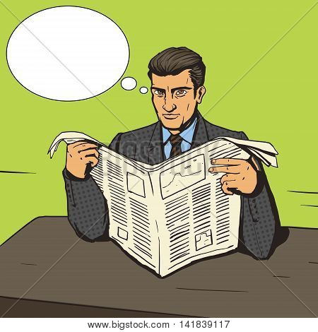 Man reading newspaper. Cartoon pop art vector illustration. Human comic book vintage retro style.