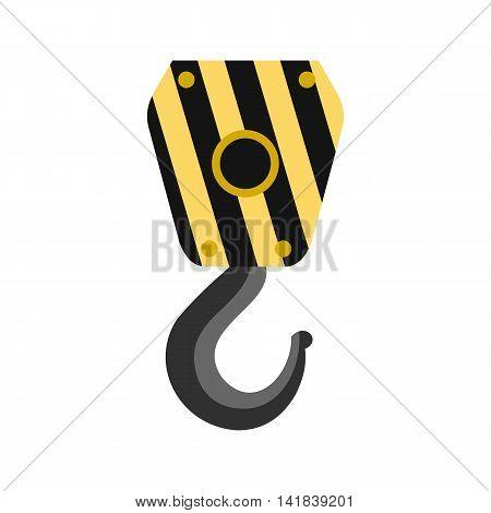 Lifting hook icon in flat style isolated on white background. Hoist symbol