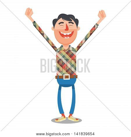 Man rejoices with hands up flat style. Happy guy with smile. Cartoon colorful vector illustration