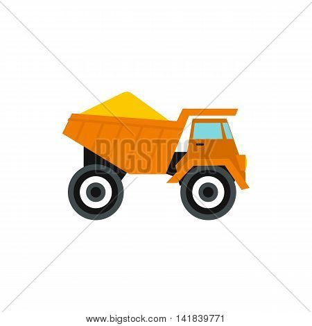 Machinery with sand icon in flat style isolated on white background. Transport symbol
