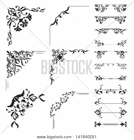 Floral corner and divider collection. Decorative element