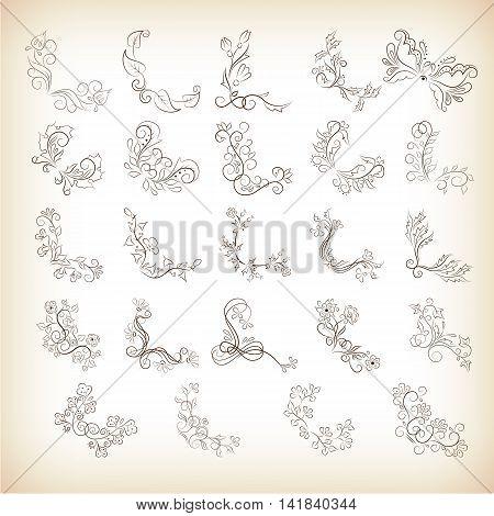 Collection vintage decorative corner with floral elements for design