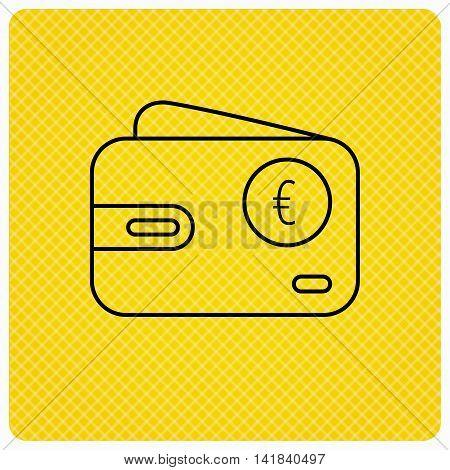 Euro wallet icon. EUR cash money bag sign. Linear icon on orange background. Vector