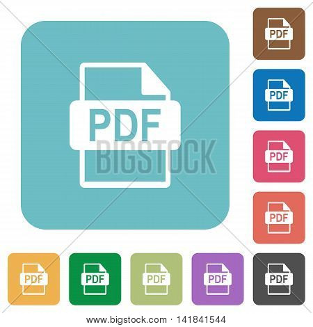 Flat PDF file format icons on rounded square color backgrounds.