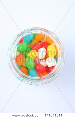 jellybeans in a glass jar
