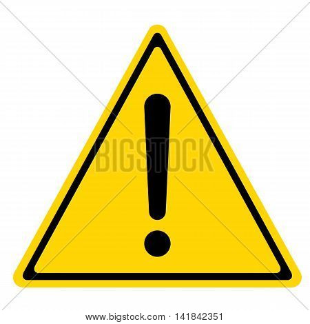 Hazard warning sign with triangle symbol isolated on white background.