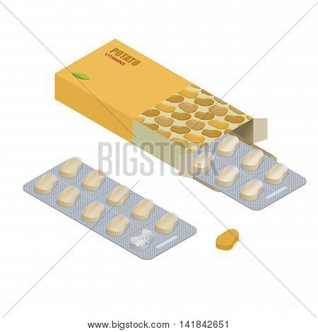 Potato Pills In Pack. Vegetarian Vitamins. Tablets In Box. Natural Products For Health In Form Of Fr